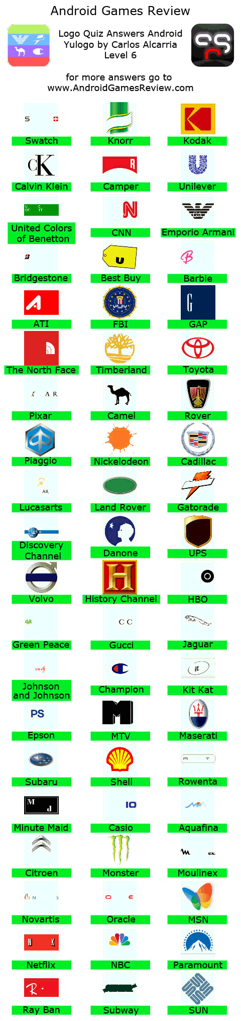 Logo quiz review android games review logo quiz answers android level 6 altavistaventures Gallery